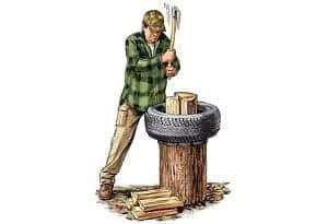 using tire while splitting firewood