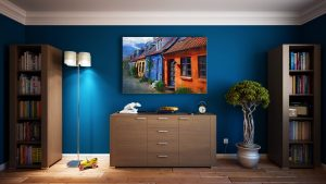 furniture in a room with blue walls