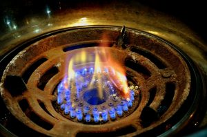 open gas flame
